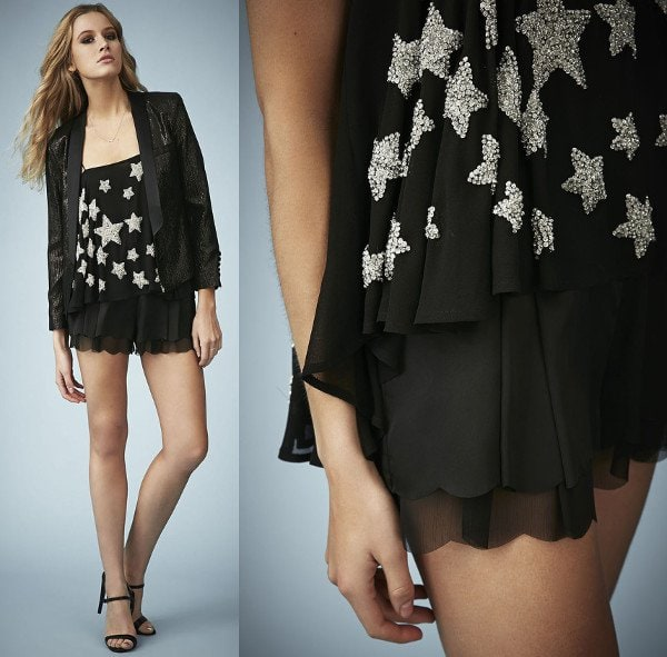 This georgette camisole embellished with silvery stars has just the right amount of sparkle we need