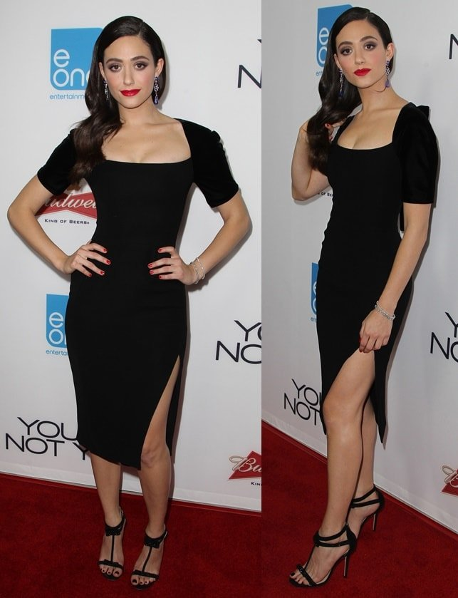 Emmy Rossum channeled her sensual side by slipping into a low-cut LBD detailed with a thigh-high slit on the skirt