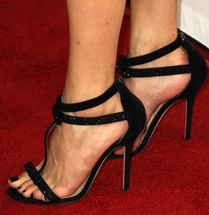 Emmy Rossum's sexy feet in glittery t-strap sandals