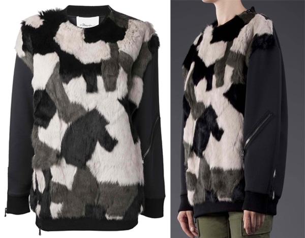 3.1 Phillip Lim Fur Patchwork Sweater