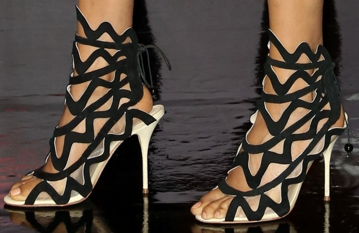 Alesha Dixon showed off her feet in cage sandals with playful squiggles by Sophia Webster