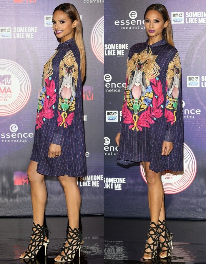 Alesha Dixon flaunted her legs in a printed silk shirt dress by Mary Katrantzou