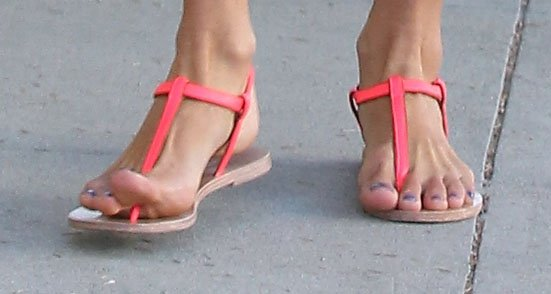 Alessandra Ambrosio showing off her feet in sandals