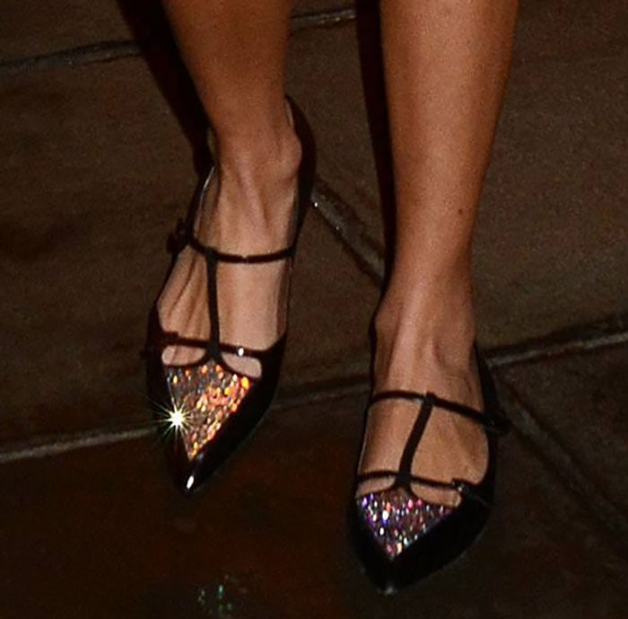 Alexa Chung shows off her feet in Tabitha Simmons ballerinas