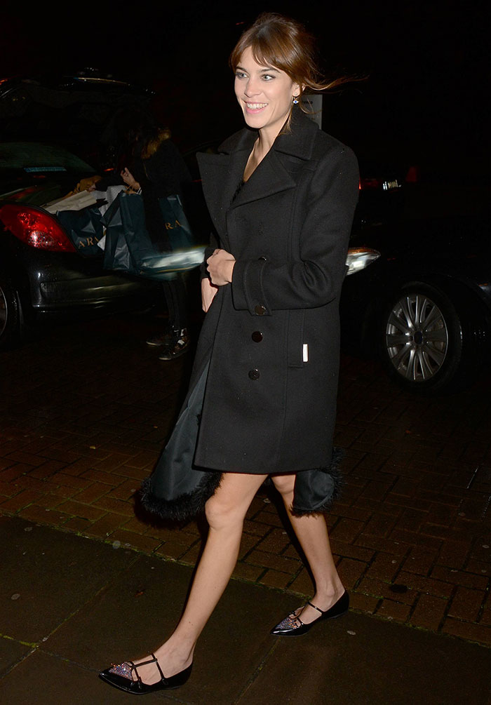 Alexa Chung arriving at RTE Television Centre for an appearance on The Late Late Show in Dublin, Ireland, on November 21, 2014