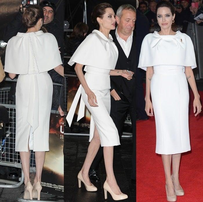 Angelina Jolie wearinga white silk-crepe tailored pencil dress from Ralph & Russo