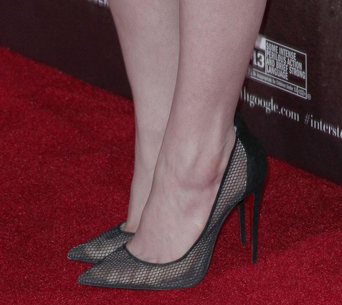 Anne Hathaway wearing Christian Louboutin pumps