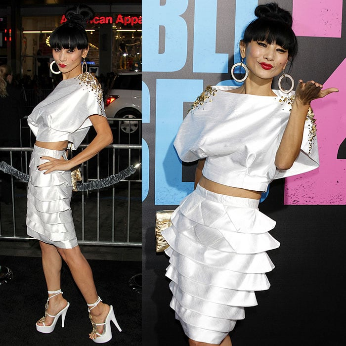 Bai Ling giving pouty faces and blowing kisses to the cameras