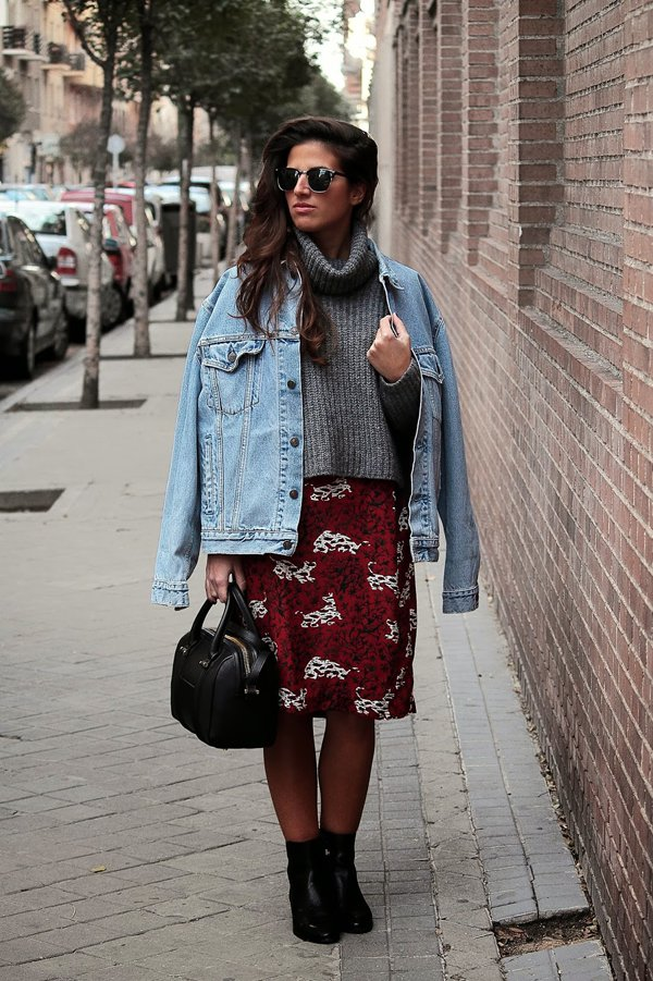 Blanca shows that turtleneck sweaters work stupendously with midi skirts