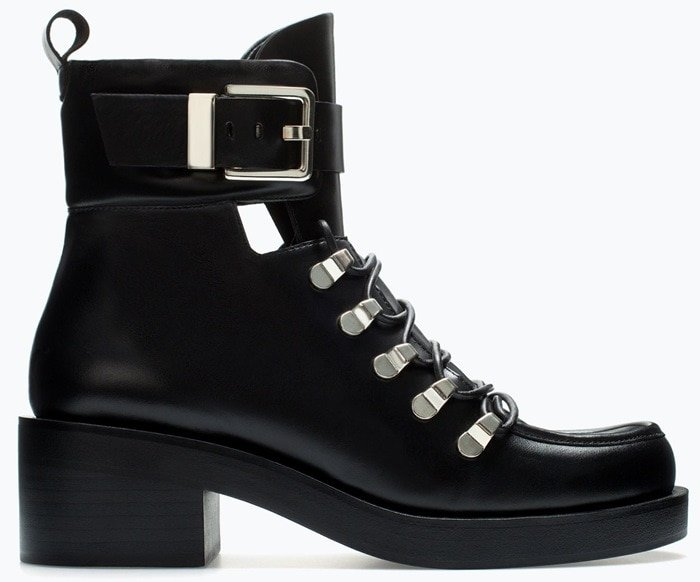 Black Calfskin Zara Metal Buckle Ankle Boots