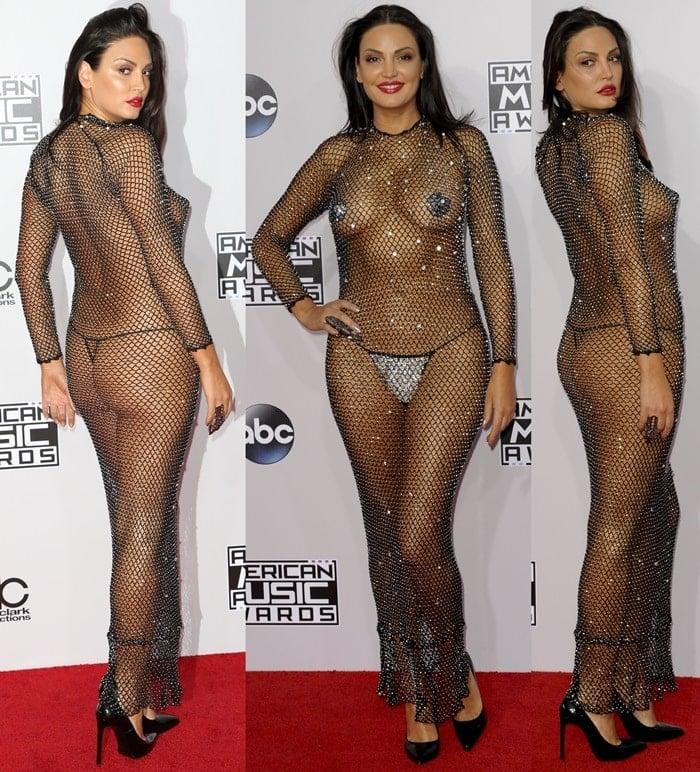 Nude Bleona Qereti Shocks in Trashy Mesh Dress and Nipple Pasties