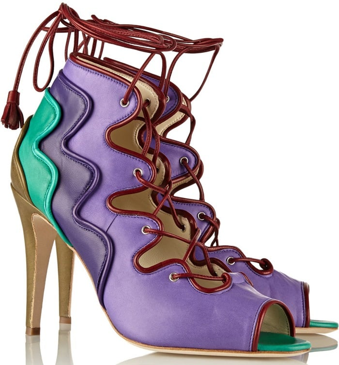 Brian Atwood Purple Kayla Leather Sandals