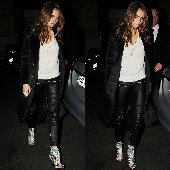 Cara Delevingne Burberry floral painted booties 1