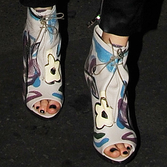 Cara Delevingne Burberry floral painted booties
