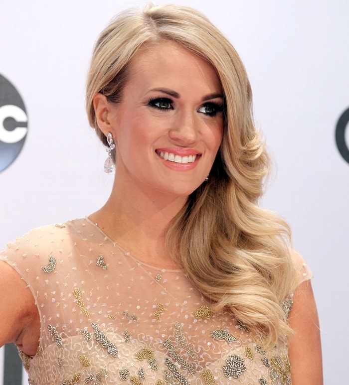 Carrie Underwood at the 48th Annual CMA Awards at the Bridgestone Arena in Nashville on November 5, 2014