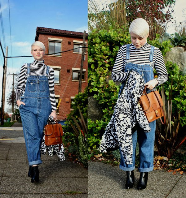 Catie'spreppy vintage-inspired outfit with denim overalls