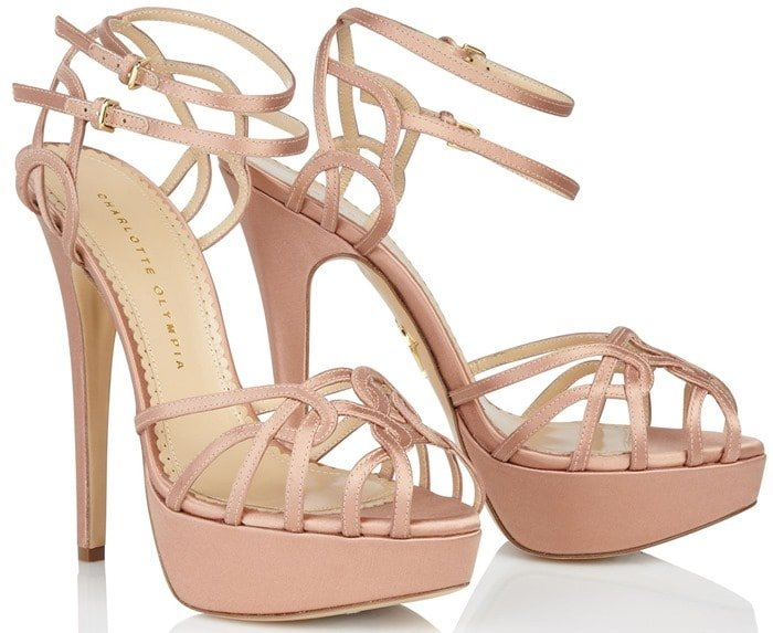 "Charlotte Olympia ""Ursula"" Platform Sandals in Blush"