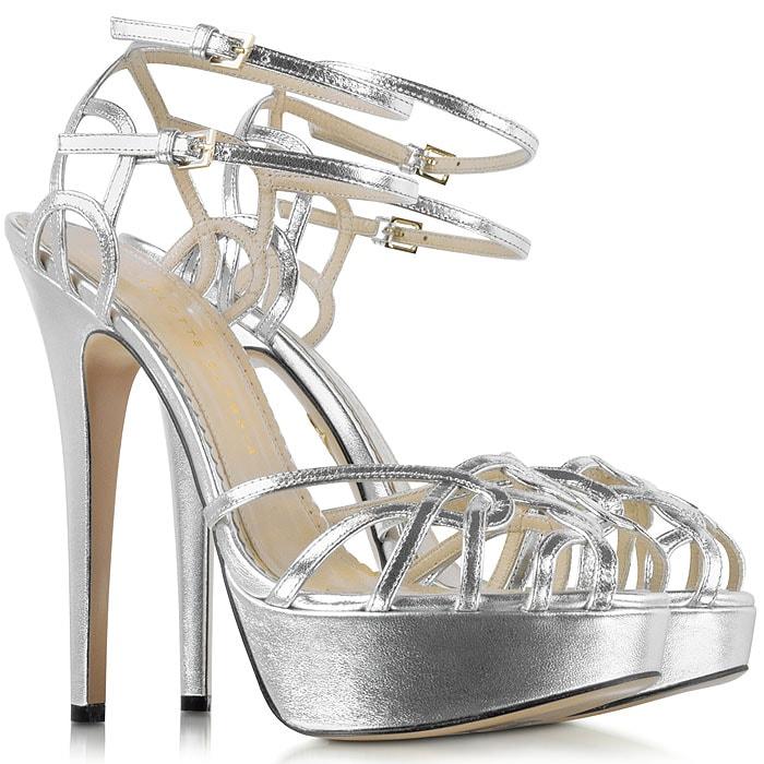 "Charlotte Olympia ""Ursula"" Platform Sandals in SilverMetallic"