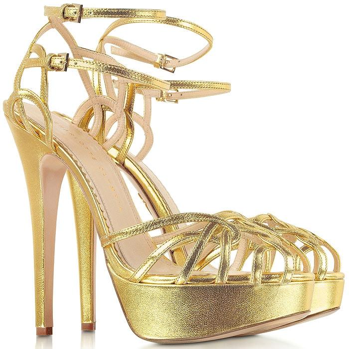"Charlotte Olympia ""Ursula"" Platform Sandals in Gold Metallic"