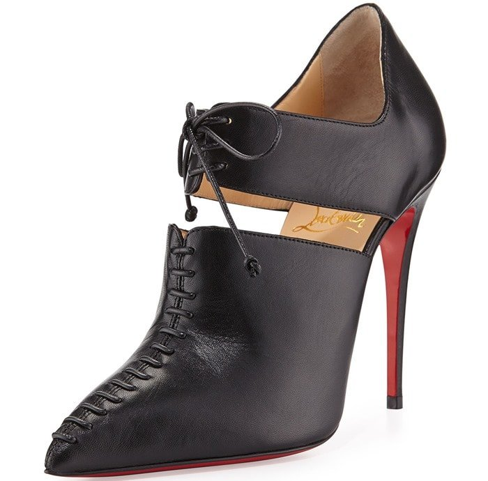 Christian Louboutin Black Corsita Cutout Leather Red Sole Ankle Boot