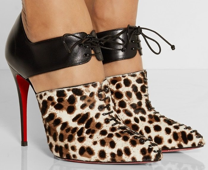 Christian Louboutin Corsita 100 leather and calf hair ankle boots