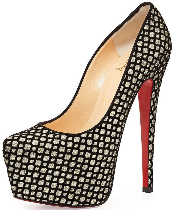 Christian Louboutin Daffodile flocked suede glitter pumps