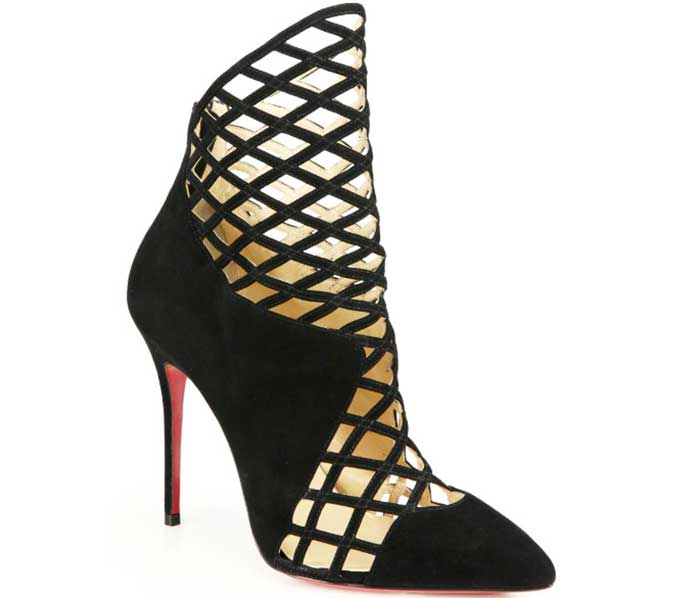 """Christian Louboutin """"Mrs Bouglione"""" Suede Cage Ankle Boots"""