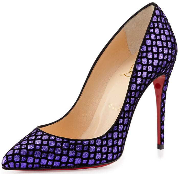 Christian Louboutin Pigalle Follies Suede-Fishnet Glitter Pumps