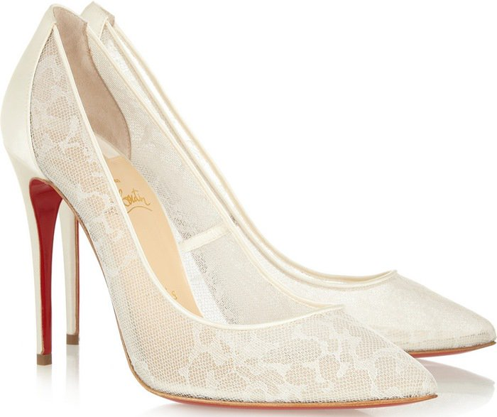 Christian Louboutin White Pigalace 100 Satin and Lace Pumps