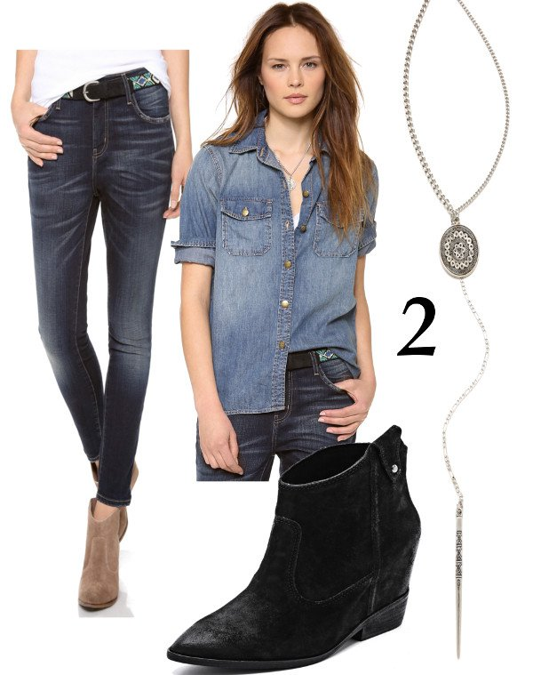 Tough Denim Top + Pointy Toe Bootie = Chic Cowgirl