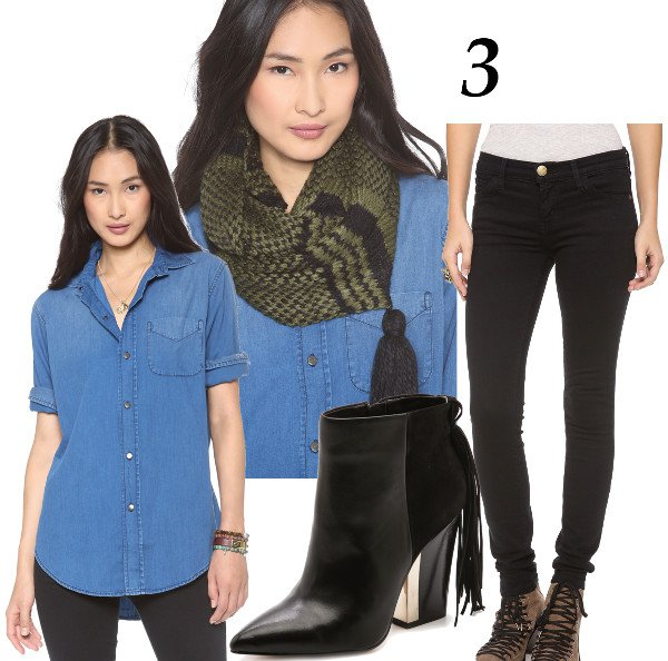 Solid Blue Denim Top + Scarf = Casual Hipster
