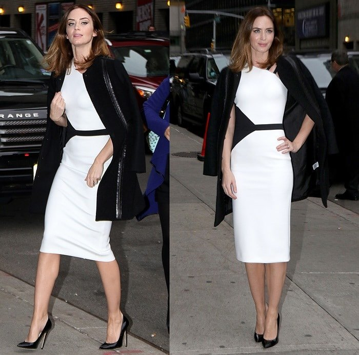 Emily Blunt donned a black-and-white dress from the David Koma Spring 2015 collection featuring a double-strap shoulder detail