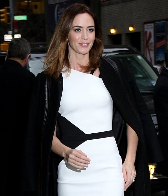 Emily Blunt heading into the Ed Sullivan Theater for an appearance on the Late Show with David Letterman in New York City on November 25, 2014