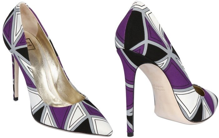 Fausto Puglisi White 120mm Geometric Printed Silk Cady Pumps