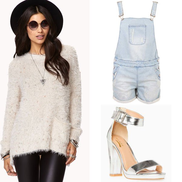 Fuzzy sweater outfit idea