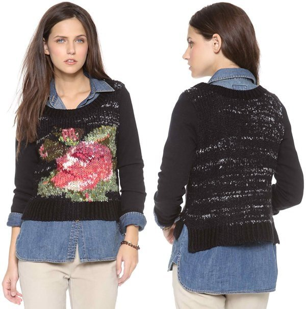 An impressionist rose adds a pop of color to a cozy Free People sweater