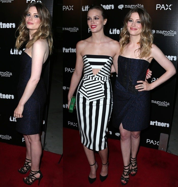 Leighton Meester and Gillian Jacobs at the premiere of their movie, Life Partners, at the ArcLight in Hollywood on November 18, 2014