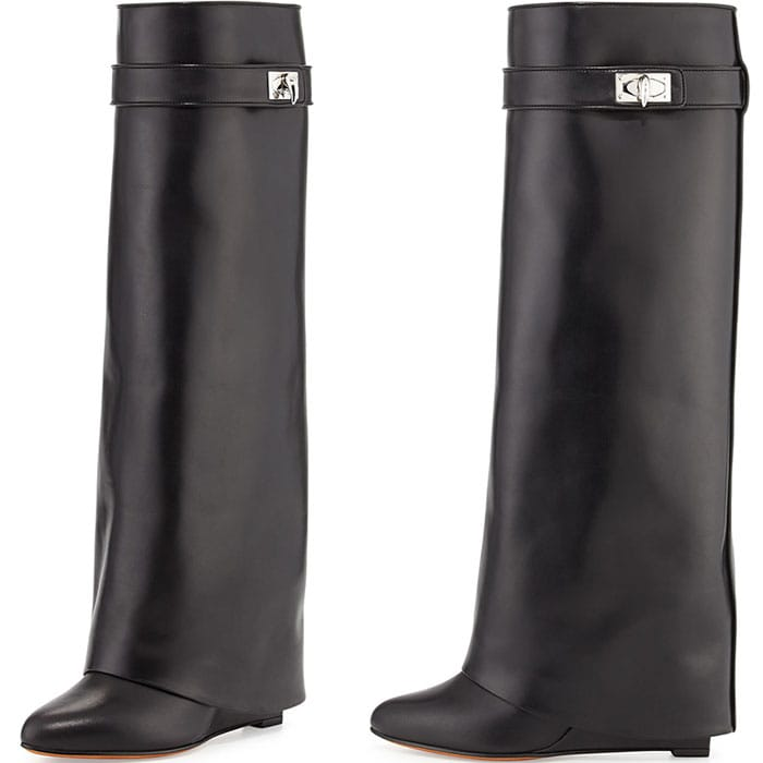 Givenchy Shark Lock Fold-Over Leather Boots