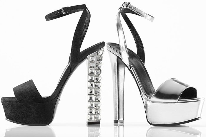 Stand tall in this lofty leather sandal from Gucci