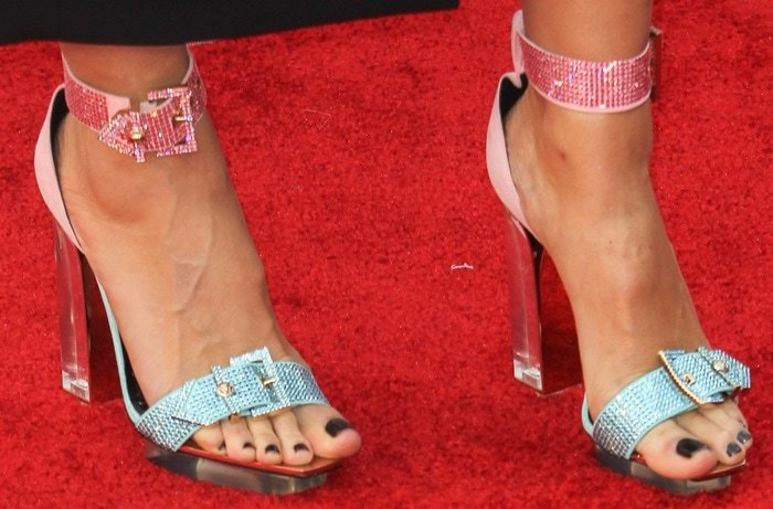Heidi Klum shows off her feet in glittering Versace shoes