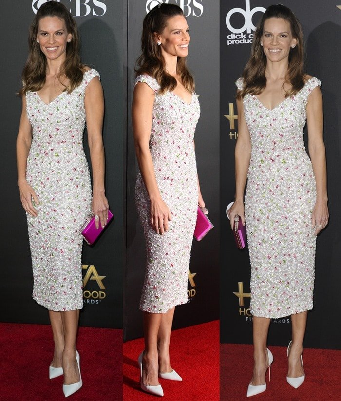 "Hilary Swank flaunting her toned legs in white Christian Louboutin ""Iriza"" d'Orsay pumps"