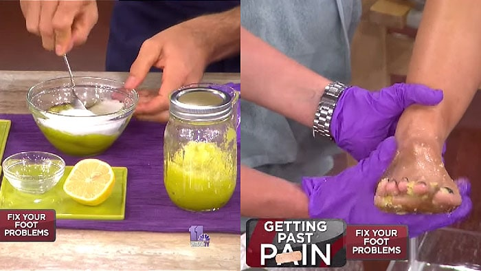 Give your feet a foot facial with a mixture of olive oil, salt, sugar, and lemon