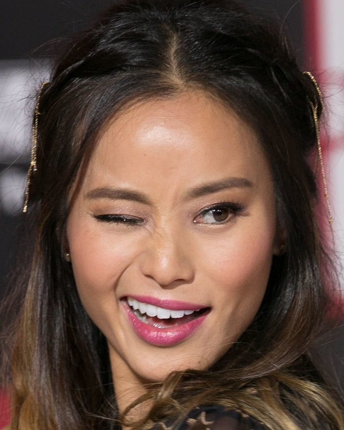 Jamie Chung at the premiere of her latest film, Big Hero 6, held at the El Capitan Theatre in Hollywood on November 4, 2014