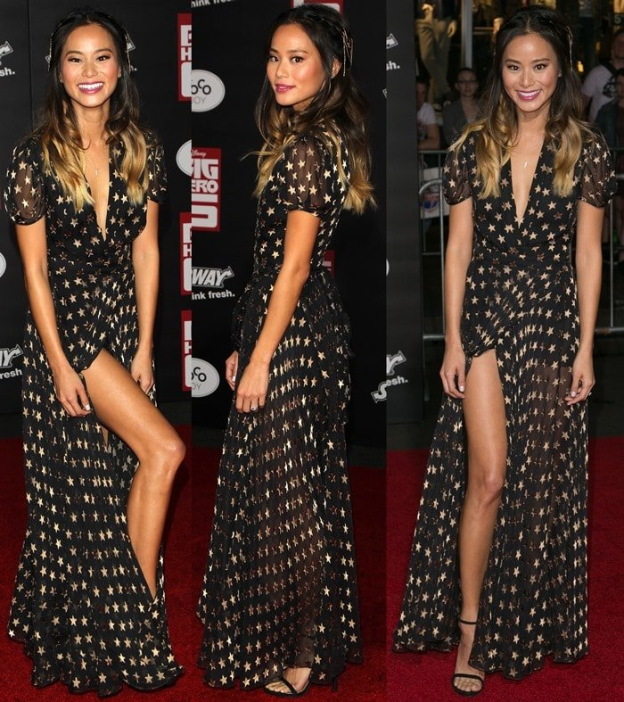 Jamie Chung flaunts her sexy legs in a gold-embroidered star-print dress