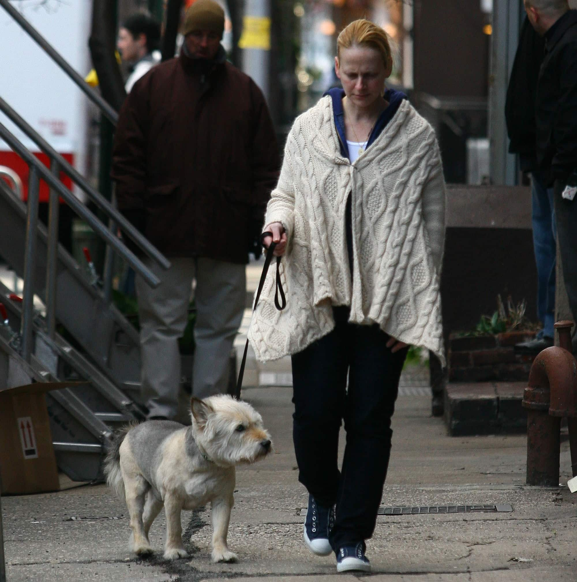 Jennifer Aniston's corgi-terrier mix dog Norman is walked on the film set of 'The Baster'
