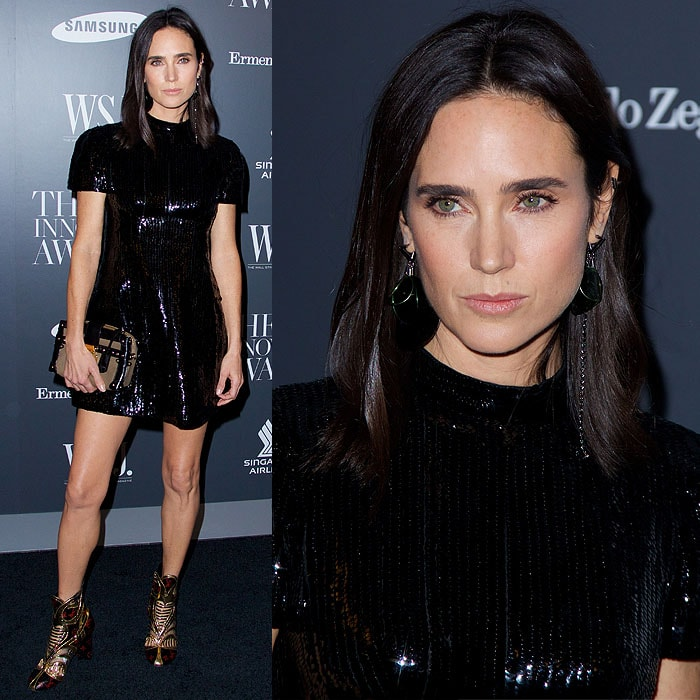 "Jennifer Connelly wearing ugly Louis Vuitton boots at WSJ magazine's ""Innovator of the Year"" Awards"