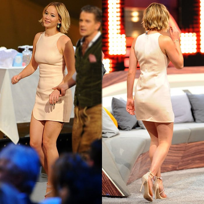 Different angles of Jennifer Lawrence's 3.1 Phillip Lim dress and Oscar de la Renta sandals