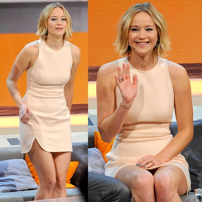 Jennifer Lawrence's choppy bob hairstyle on the German-language show Wetten, dass..?