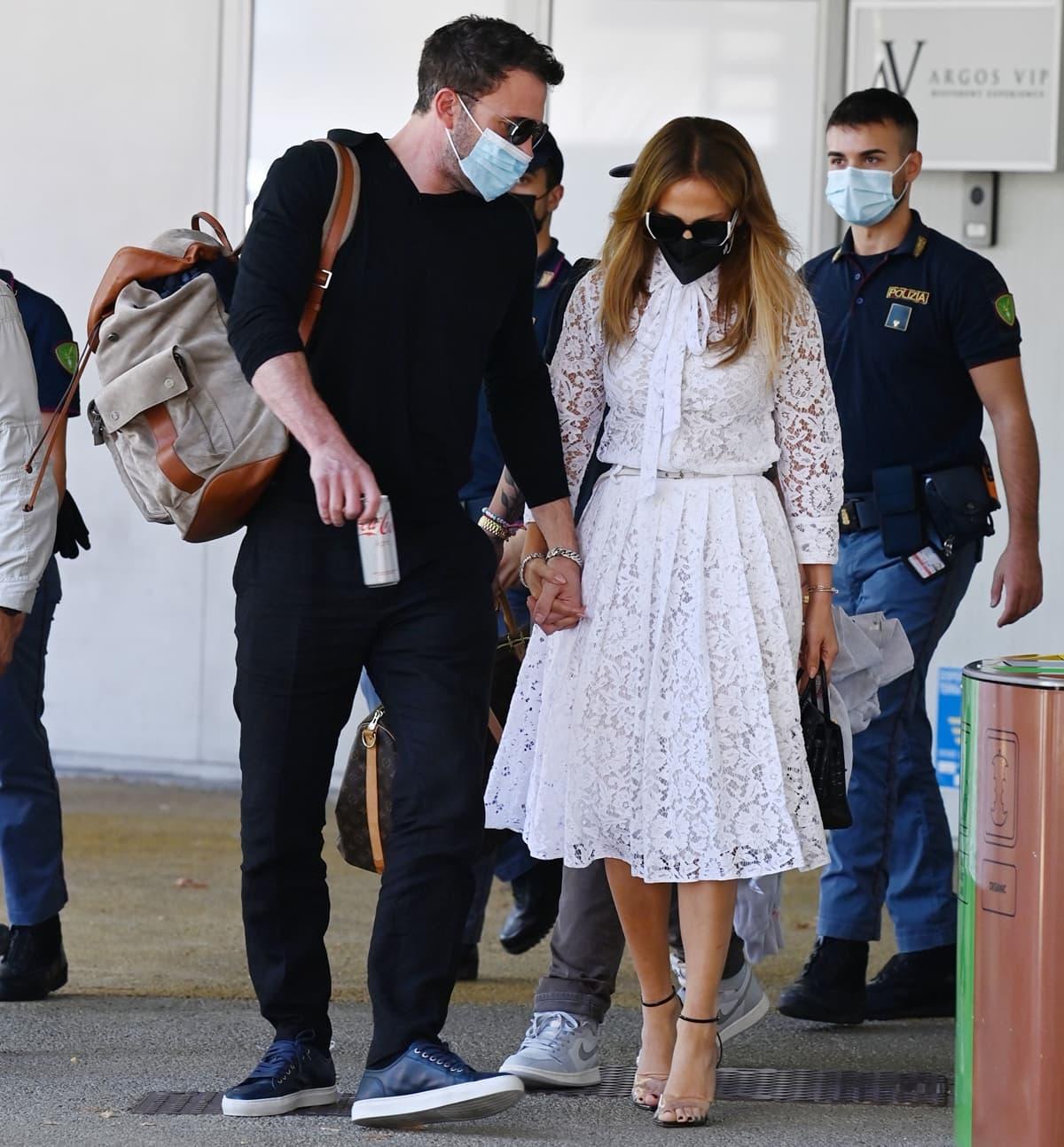 Jennifer Lopez and Ben Affleck arrive during the 78th Venice International Film Festival
