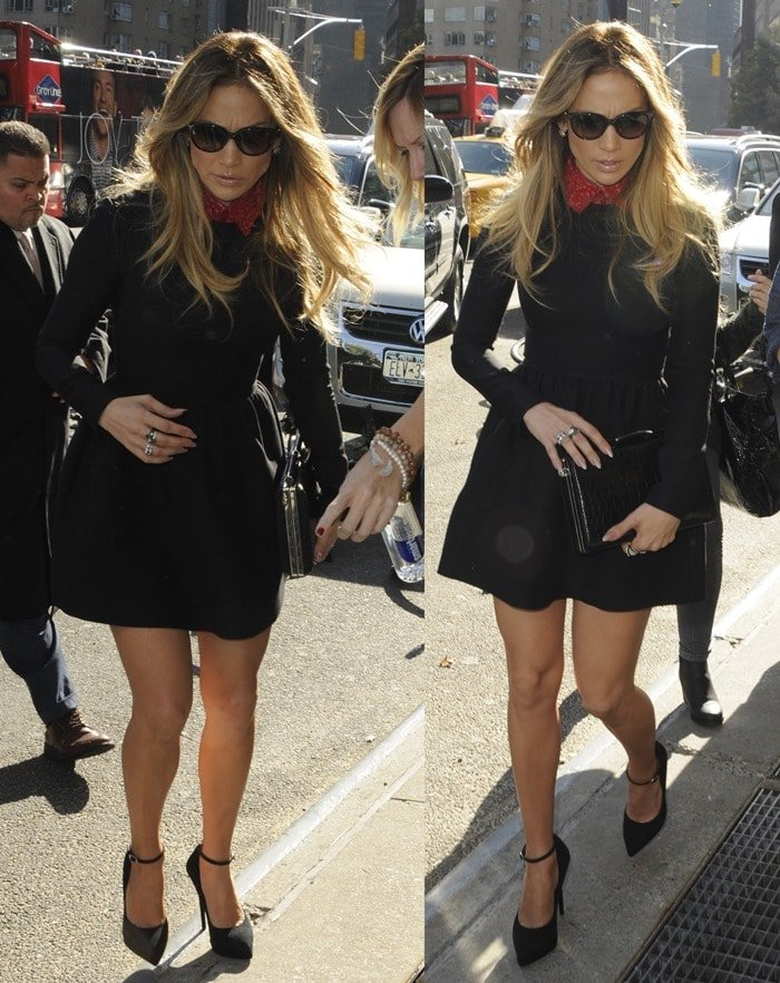 Jennifer Lopez flaunted her killer legs in a Bambolina dress from Valentino featuring a whimsical embellished collar